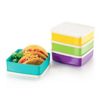 Tupperware Large Square-A-Way Lunch Box 4 x 620ml
