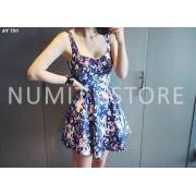 Blue Floral Pleated Dress (Direct import from Korea)