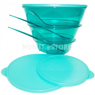 Tupperware LEVEL Tiffany Stack-able Bowls with Fork Spoon