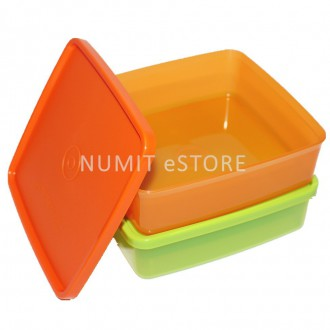 TUPPERWARE LARGE SQUARE A WAY KID LUNCH BOX 2X620ML