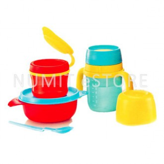 Tupperware Twinkle Totz Baby Bowl and Bottle Set