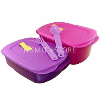 Tupperware Heat2eat Rectangular Microwaveable Crystalwave Lunch Box 1.7L Pink + 1L Purple