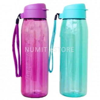 Tupperware Bottles 1 Purple 1 Sea Green 750ml Flip Top Cover with 2 Straps