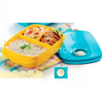 Tupperware Microwaveable Divided Lunch Box Tiffany Cover with Yellow Body Lunch Box