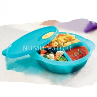 TUPPERWARE Microwaveable Crystalwave Divided Lunch Box Round Tiffanny colour