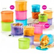 TUPPERWARE SUPER SAVING Colourful Snack N Stack 6x2.4L + 6x 1.7L + 6x 1.1L - NUMIT (TOTAL 18PCS)