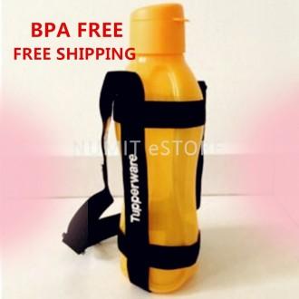 TUPPERWARE Eco Bottle Flip Top 1L Yellow + Black Strap