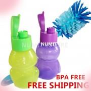 Tupperware 2X350ml Frog Penguin Eco Bottles + Durable Flexible Brush x 1