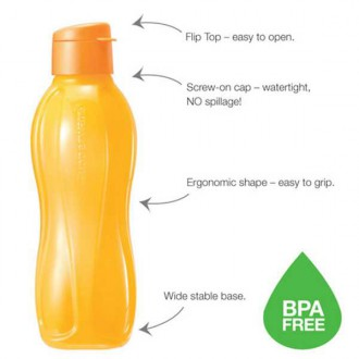 Tupperware Eco Bottle Flip Top Orange 1L