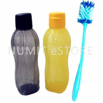 Tupperware Eco Bottle Flip Top Yellow Black 1L+ Flexible Brush