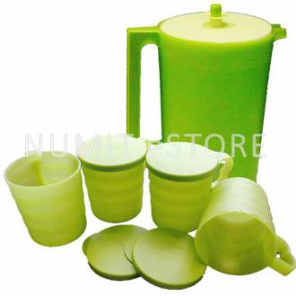 Tupperware Blossom Pitcher 2.3L + 4 Mugs and Seals 350ml
