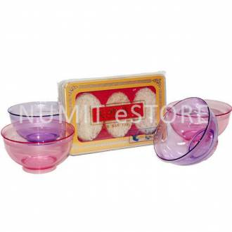 NUMIT Bird Nest Oval 3 Pieces with 4 Tupperware Brand Crystal Clear Pink Purple Bowls