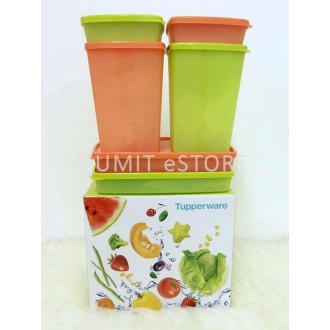 Fridge Fresh Square Round Set (2x250ml Shallow+2x600ml Double Square+2x1.4L Cool Square) Tupperware