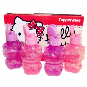 Tupperware Hello Kitty BPA FREE Eco Bottles 4x425ml PINK PURPLE set