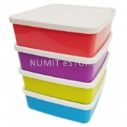 Tupperware Colourful NEW Lunch Box Large Sqaure A way 4x650ml - NUMIT