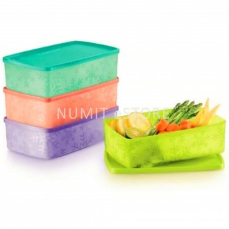 TUPPERWARE Snowflake Double Square Round 4x1.3L NEW COLOUR- NUMIT