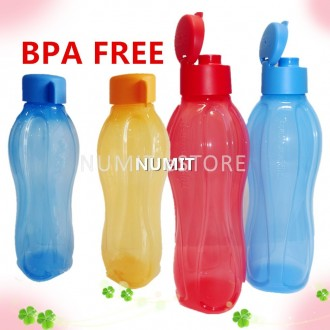 Tupperware Eco Bottles 2x750ml Blue Orange + 2x1L Flip Top Red Blue (BPA FREE)