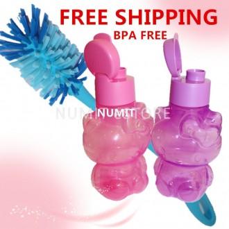 Tupperware Hello Kitty BPA FREE Eco Bottles 2x425ml + Durable Brush x 1